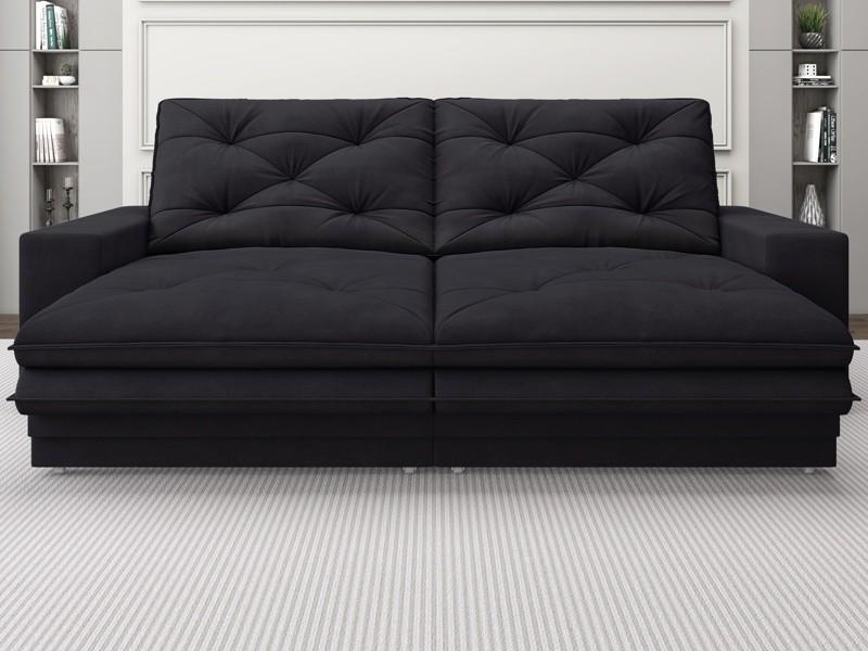 Sofá Neon 2,20m Retrátil e Reclinável Velosuede Preto - NETSOFAS