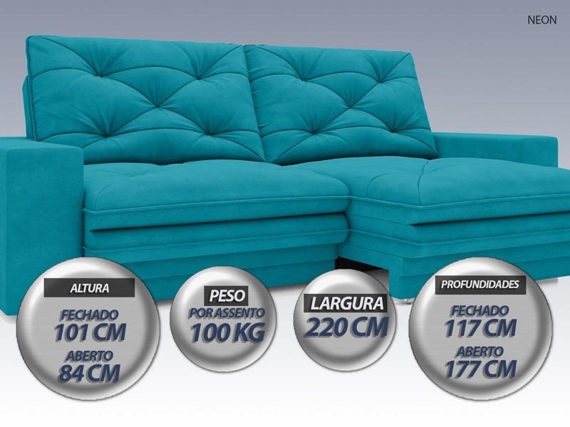Sofá Neon 2,20m Retrátil e Reclinável Velosuede Turquesa - NETSOFAS  - NETSOFÁS