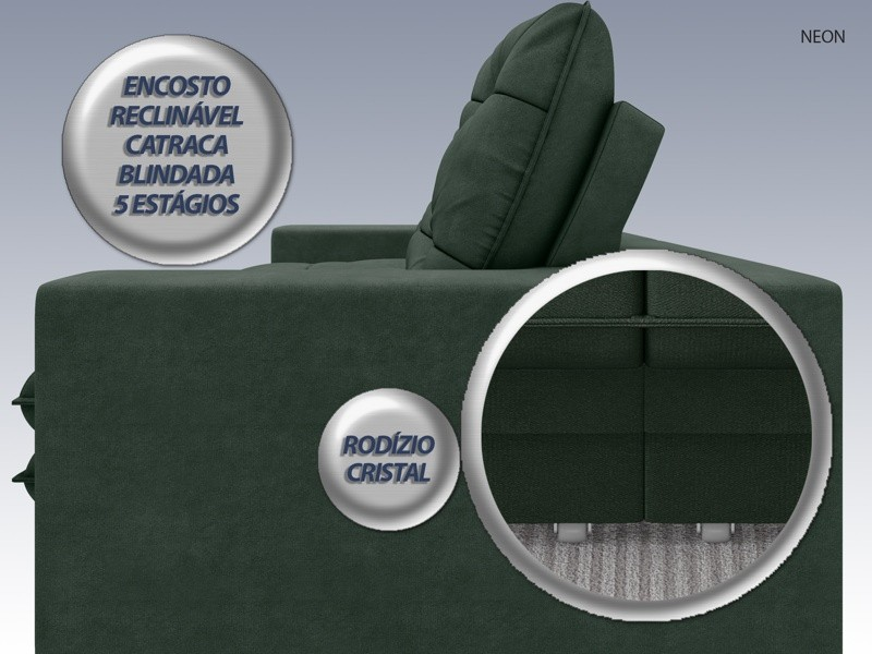 Sofá Neon 2,20m Retrátil e Reclinável Velosuede Verde - NETSOFAS  - NETSOFÁS