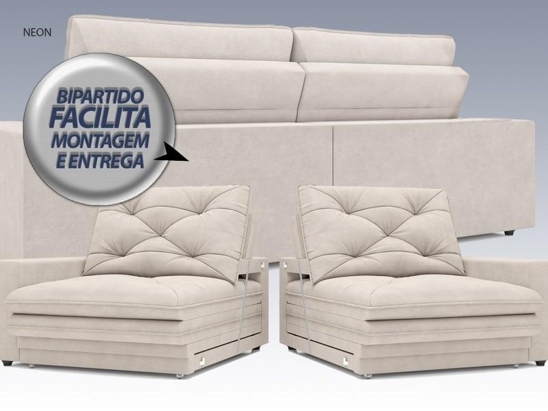 Sofá Neon 2,40m Retrátil e Reclinável Velosuede Areia - NETSOFAS