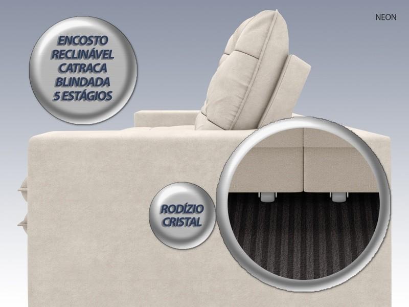 Sofá Neon 2,40m Retrátil e Reclinável Velosuede Areia - NETSOFAS  - NETSOFÁS