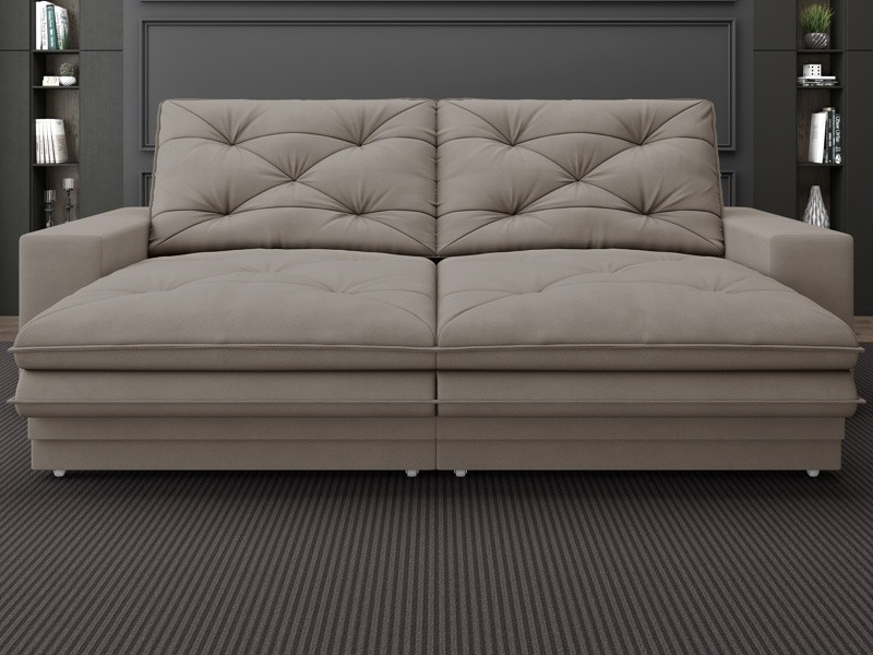 Sofá Neon 2,40m Retrátil e Reclinável Velosuede Bege - NETSOFAS