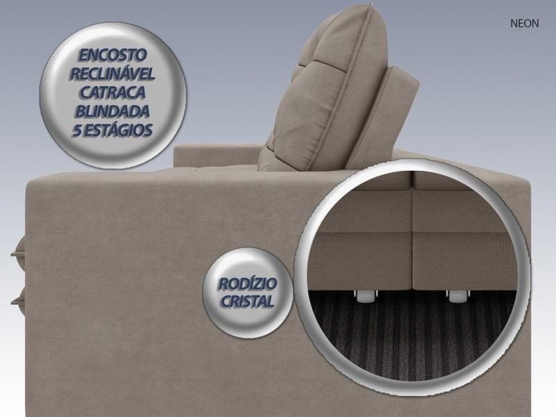 Sofá Neon 2,40m Retrátil e Reclinável Velosuede Bege - NETSOFAS  - NETSOFÁS