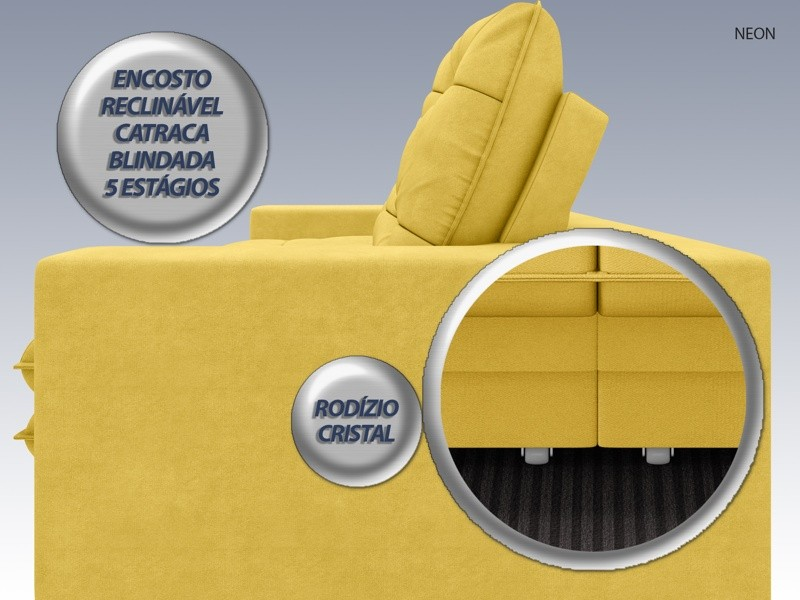 Sofá Neon 2,40m Retrátil e Reclinável Velosuede Canário - NETSOFAS  - NETSOFÁS