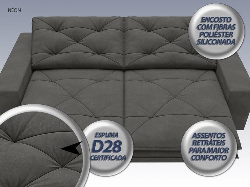 Sofá Neon 2,40m Retrátil e Reclinável Velosuede Cinza - NETSOFAS  - NETSOFÁS
