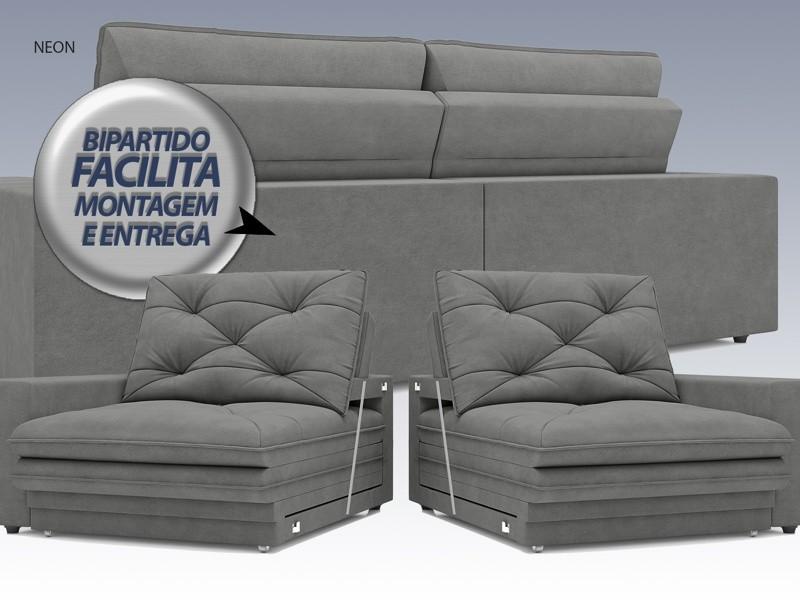 Sofá Neon 2,40m Retrátil e Reclinável Velosuede Grafite - NETSOFAS  - NETSOFÁS