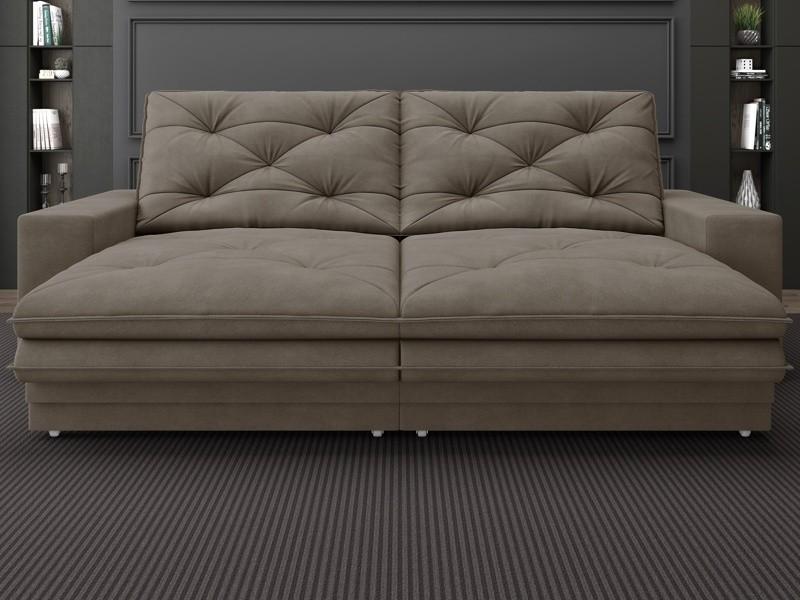 Sofá Neon 2,40m Retrátil e Reclinável Velosuede Marrom - NETSOFAS