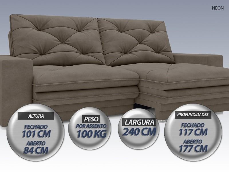 Sofá Neon 2,40m Retrátil e Reclinável Velosuede Marrom - NETSOFAS  - NETSOFÁS