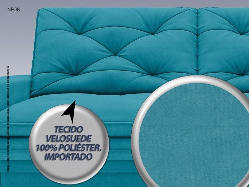 Sofá Neon 2,40m Retrátil e Reclinável Velosuede Turquesa - NETSOFAS  - NETSOFÁS