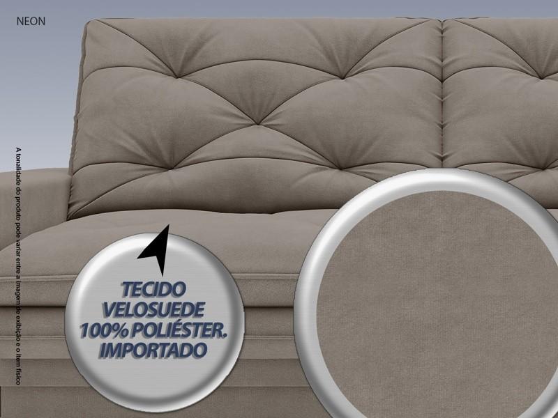 Sofá Neon 2,60m Retrátil e Reclinável Velosuede Bege - NETSOFAS  - NETSOFÁS