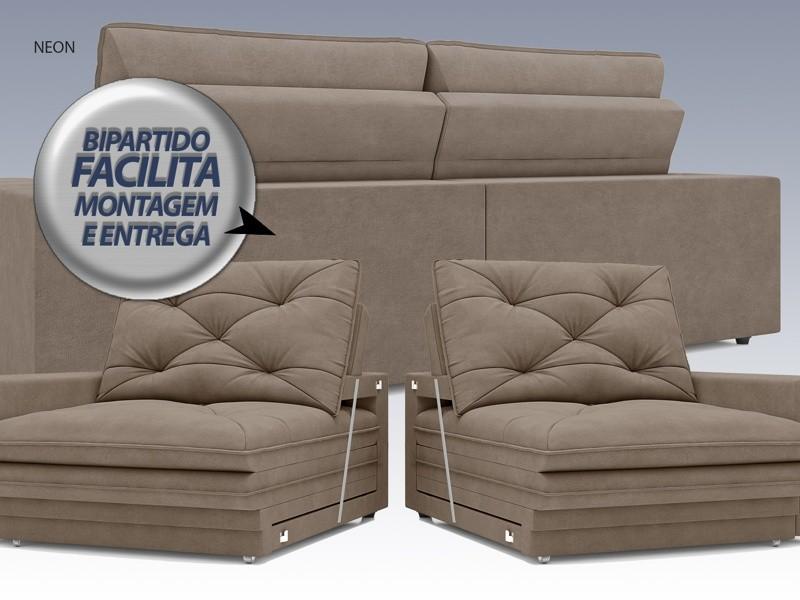 Sofá Neon 2,60m Retrátil e Reclinável Velosuede Capuccino - NETSOFAS  - NETSOFÁS