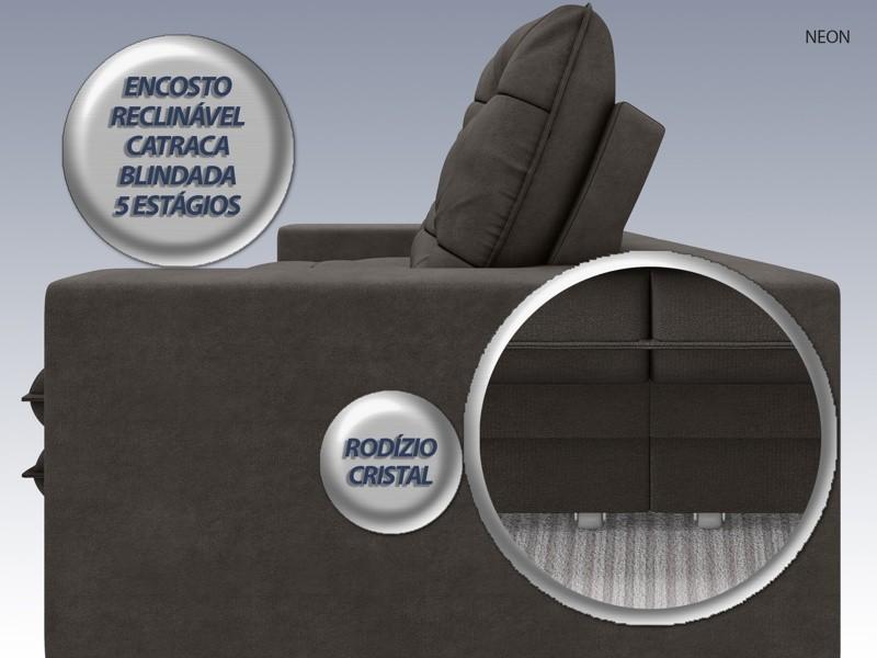 Sofá Neon 2,60m Retrátil e Reclinável Velosuede Chocolate - NETSOFAS  - NETSOFÁS