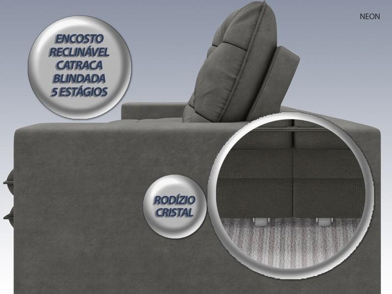 Sofá Neon 2,60m Retrátil e Reclinável Velosuede Cinza - NETSOFAS  - NETSOFÁS