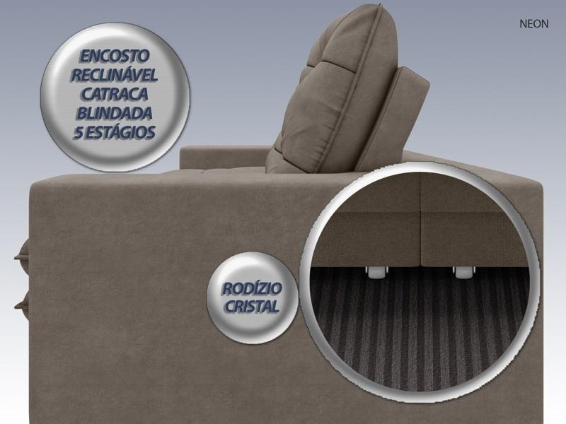 Sofá Neon 2,60m Retrátil e Reclinável Velosuede Marrom - NETSOFAS  - NETSOFÁS