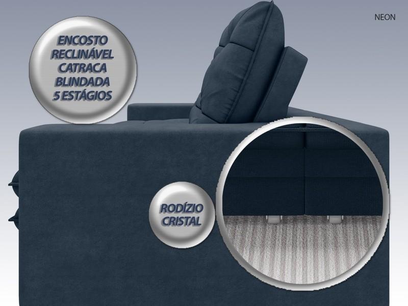 Sofá Neon 2,60m Retrátil e Reclinável Velosuede Petróleo - NETSOFAS