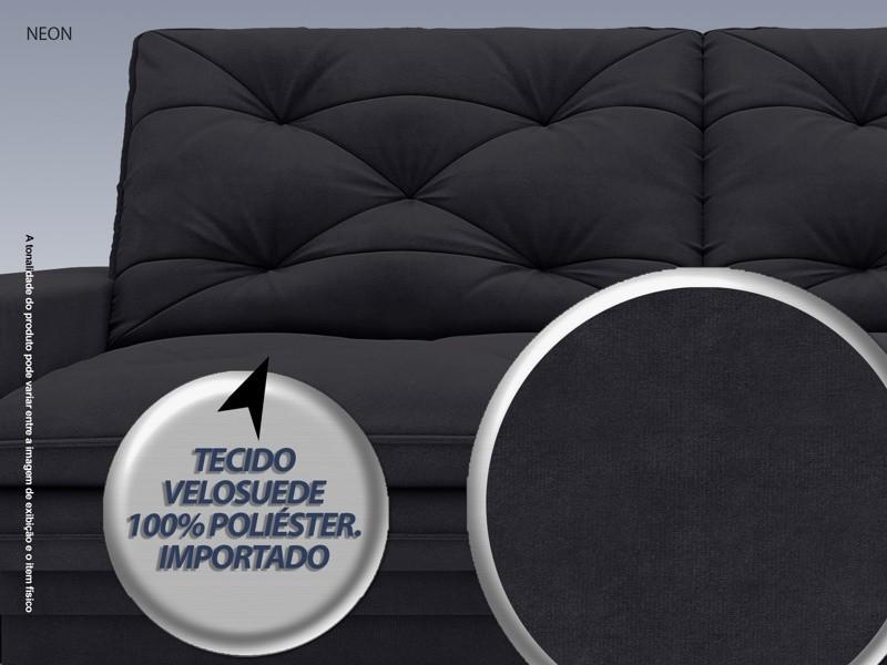 Sofá Neon 2,60m Retrátil e Reclinável Velosuede Preto - NETSOFAS