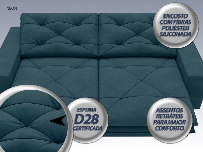 Sofá Neon 2,60m Retrátil e Reclinável Velosuede Royal - NETSOFAS  - NETSOFÁS