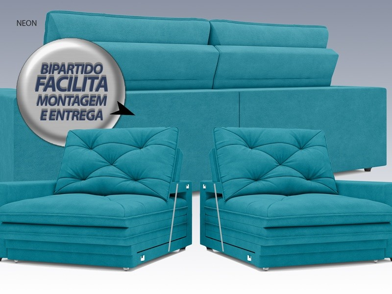 Sofá Neon 2,60m Retrátil e Reclinável Velosuede Turquesa - NETSOFAS  - NETSOFÁS