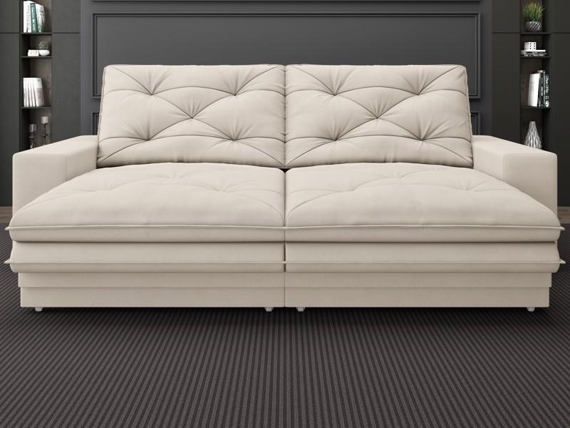 Sofá Neon 2,80m Retrátil e Reclinável Velosuede Areia - NETSOFAS