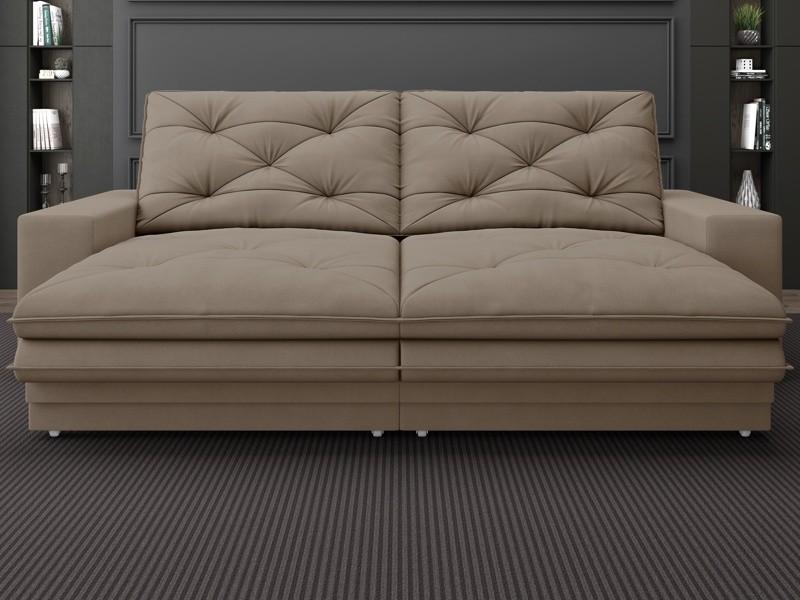 Sofá Neon 2,80m Retrátil e Reclinável Velosuede Capuccino - NETSOFAS