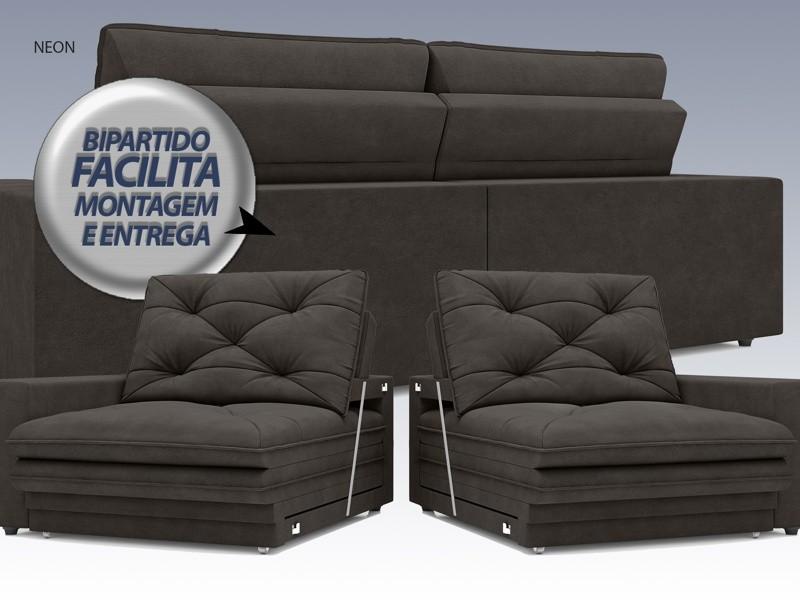 Sofá Neon 2,80m Retrátil e Reclinável Velosuede Chocolate - NETSOFAS