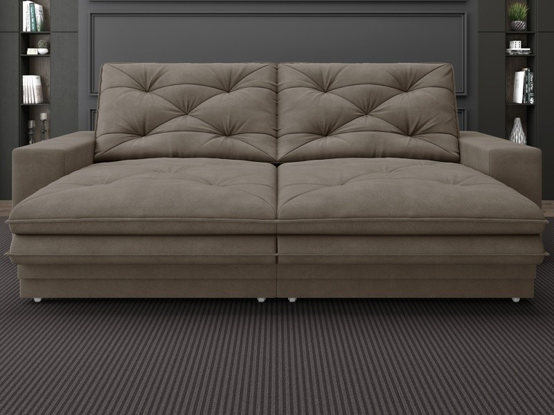 Sofá Neon 2,80m Retrátil e Reclinável Velosuede Marrom - NETSOFAS