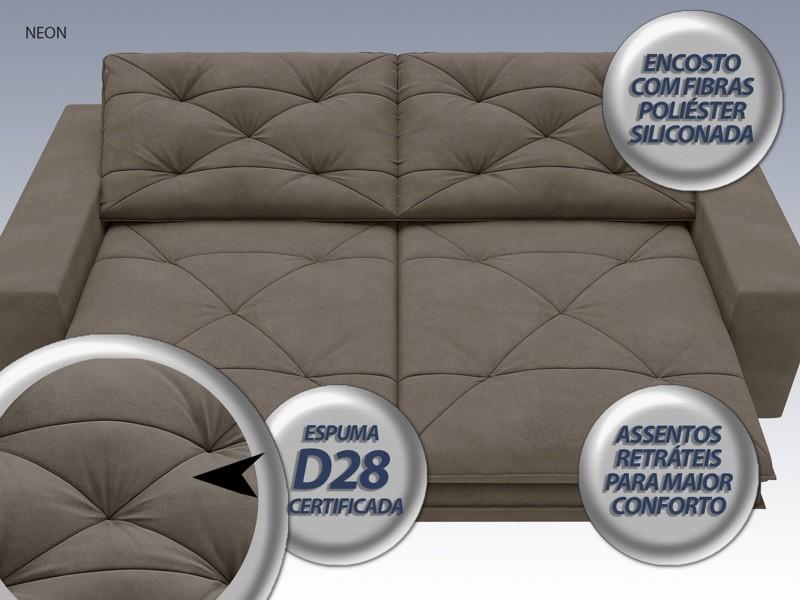 Sofá Neon 2,80m Retrátil e Reclinável Velosuede Marrom - NETSOFAS  - NETSOFÁS