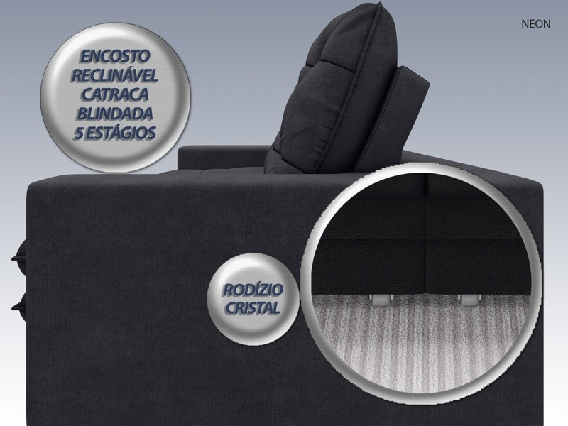 Sofá Neon 2,80m Retrátil e Reclinável Velosuede Preto - NETSOFAS  - NETSOFÁS