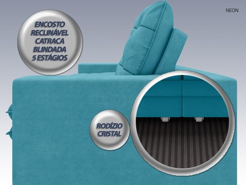 Sofá Neon 2,80m Retrátil e Reclinável Velosuede Turquesa - NETSOFAS  - NETSOFÁS