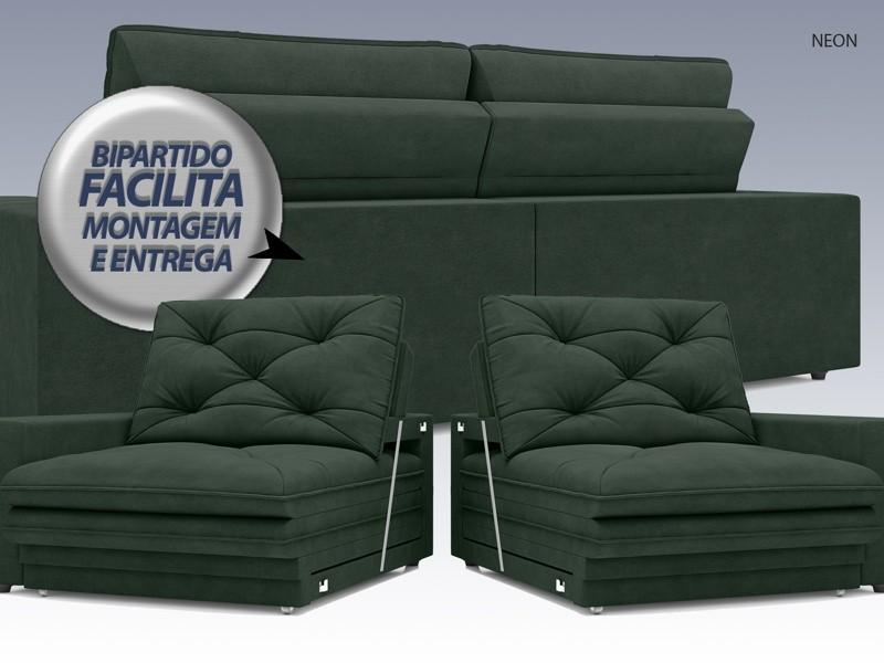 Sofá Neon 2,80m Retrátil e Reclinável Velosuede Verde - NETSOFAS  - NETSOFÁS