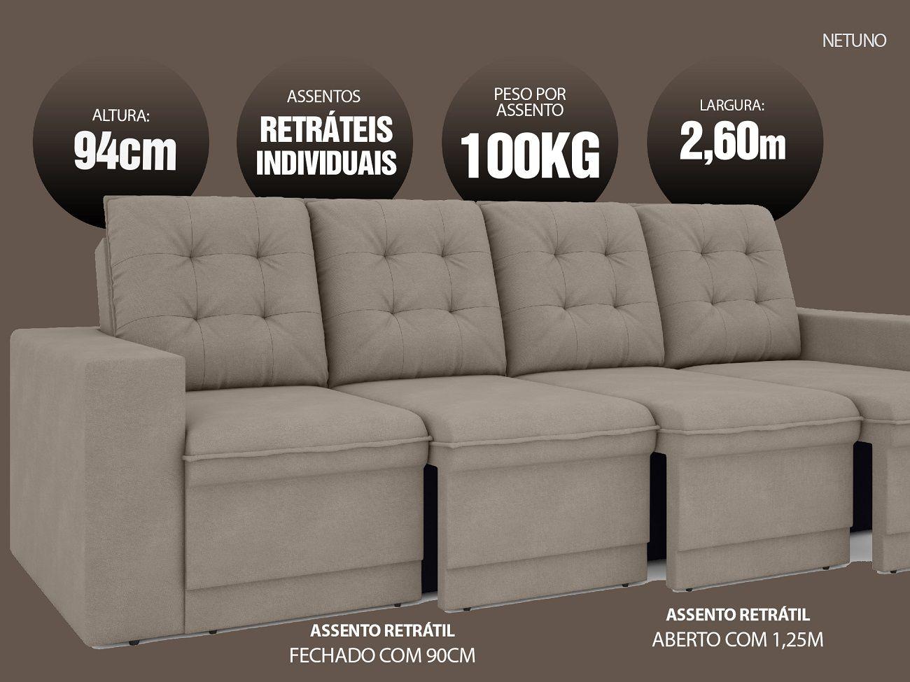 Sofá Netuno 2,60m Retrátil Velosuede Bege - NETSOFAS  - NETSOFÁS