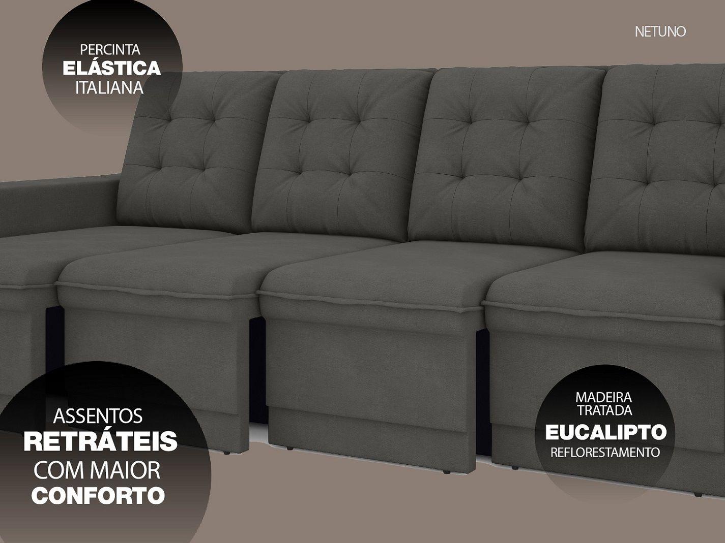 Sofá Netuno 2,60m Retrátil Velosuede Cinza - NETSOFAS