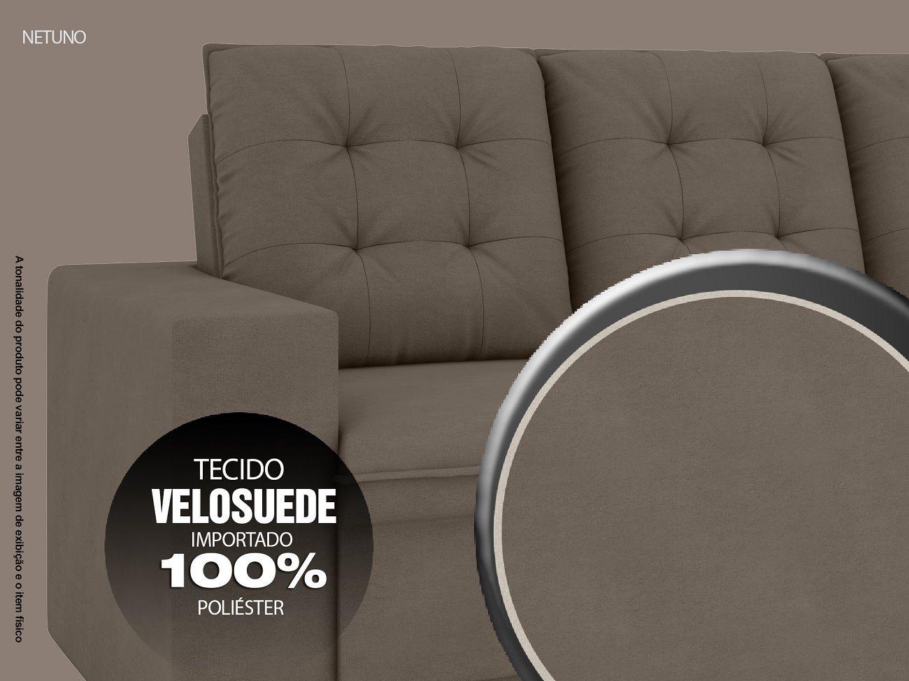 Sofá Netuno 2,60m Retrátil Velosuede Marrom - NETSOFAS  - NETSOFÁS