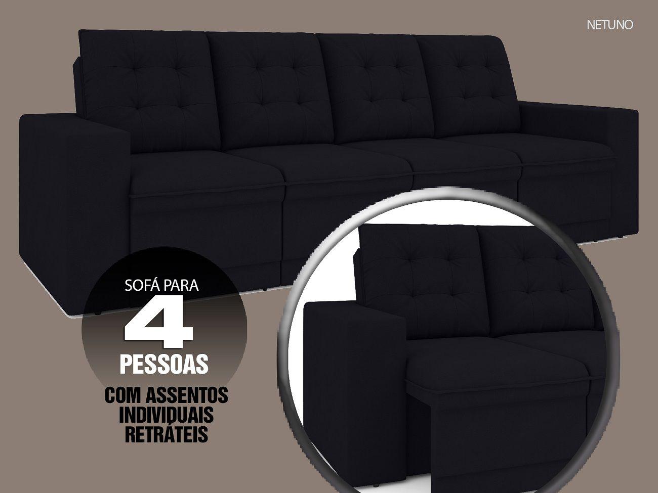 Sofá Netuno 2,60m Retrátil Velosuede Preto - NETSOFAS  - NETSOFÁS
