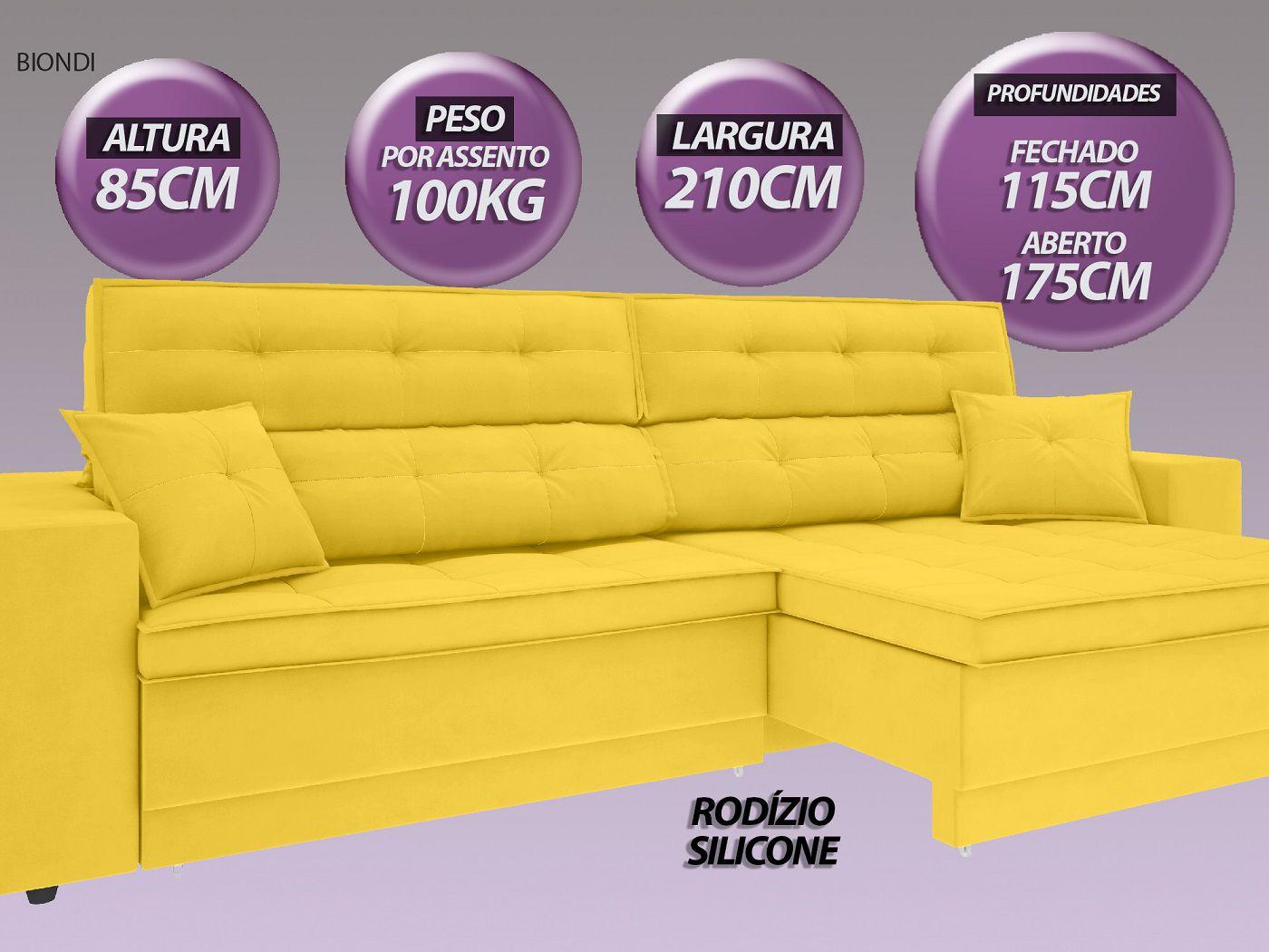 Sofá New Biondi 2,10m Retrátil e Reclinável Velosuede Canario  - NETSOFAS