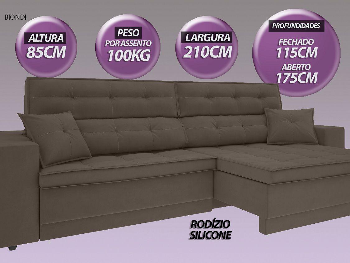 Sofá New Biondi 2,10m Retrátil e Reclinável Velosuede Marrom - NETSOFAS