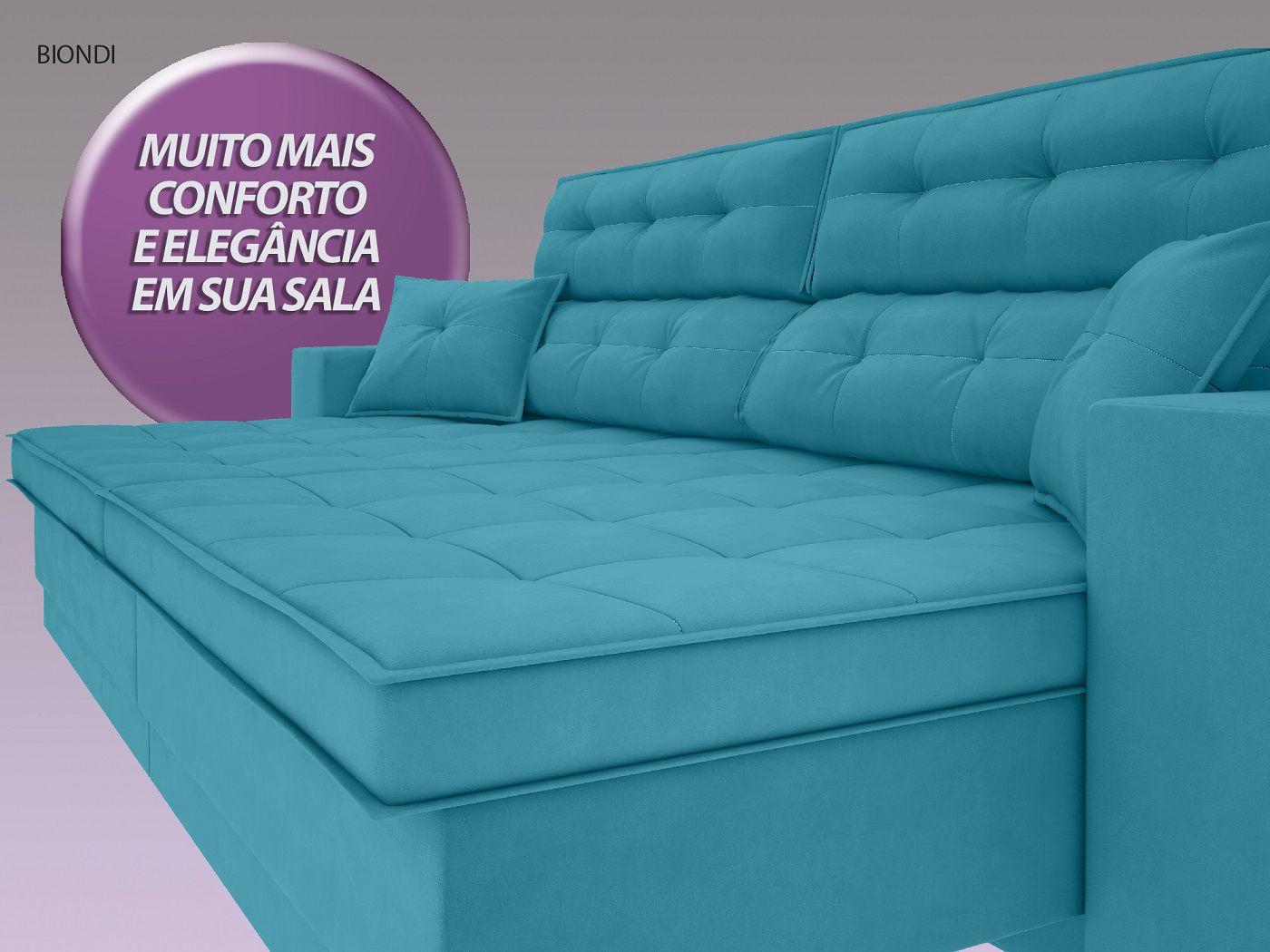 Sofá New Biondi 2,10m Retrátil e Reclinável Velosuede Turquesa  - NETSOFAS