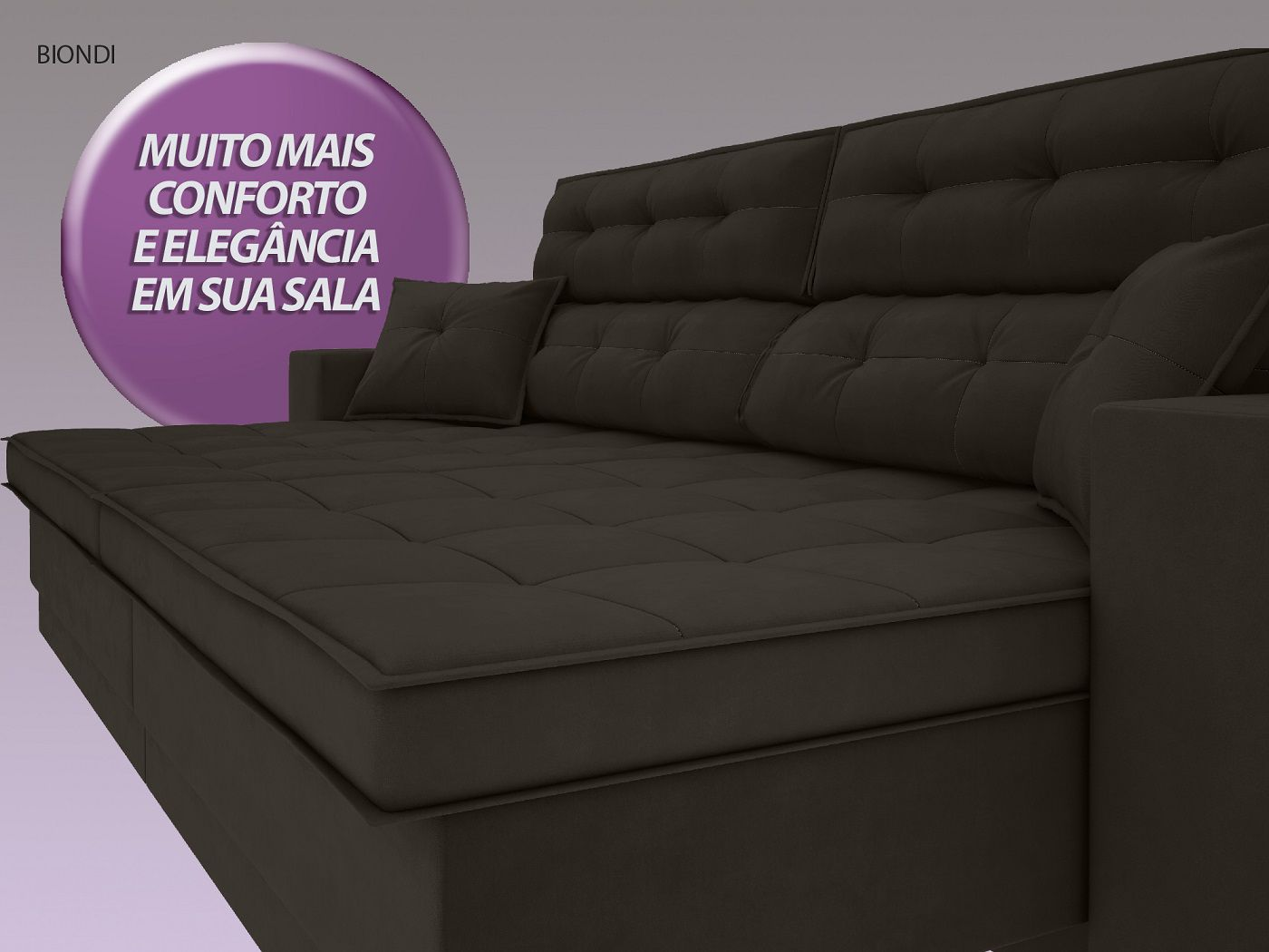 Sofá New Biondi 2,30m Retrátil e Reclinável Velosuede Chocolate  - NETSOFAS