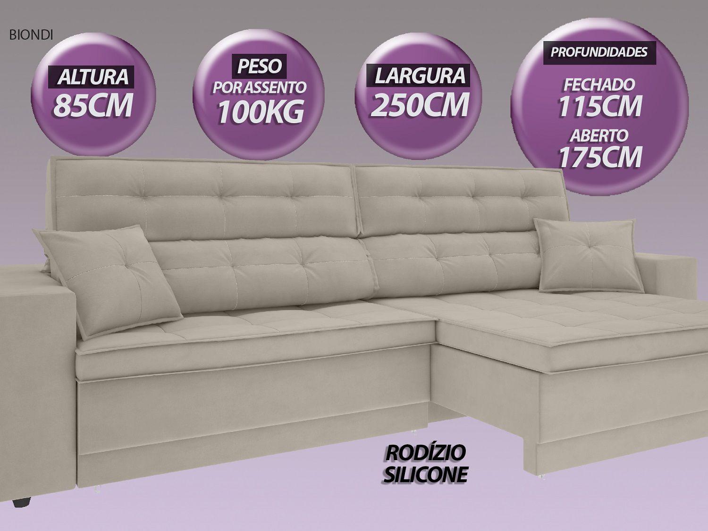 Sofá New Biondi 2,50m Retrátil e Reclinável Velosuede Areia - NETSOFAS  - NETSOFÁS