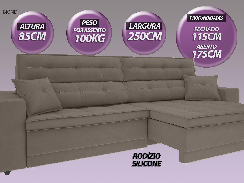 Sofá New Biondi 2,50m Retrátil e Reclinável Velosuede Bege - NETSOFAS