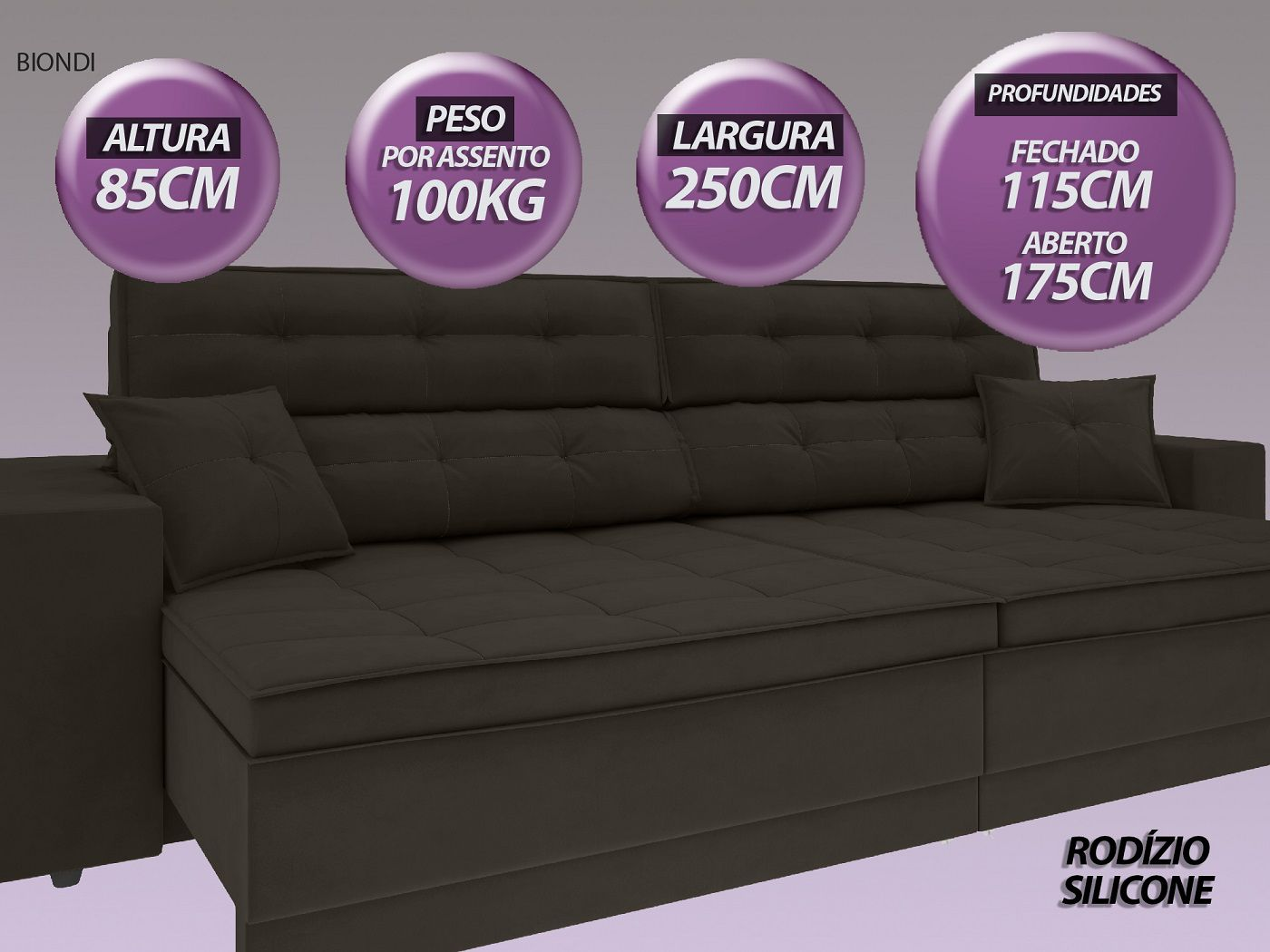 Sofá New Biondi 2,50m Retrátil e Reclinável Velosuede Chocolate  - NETSOFAS