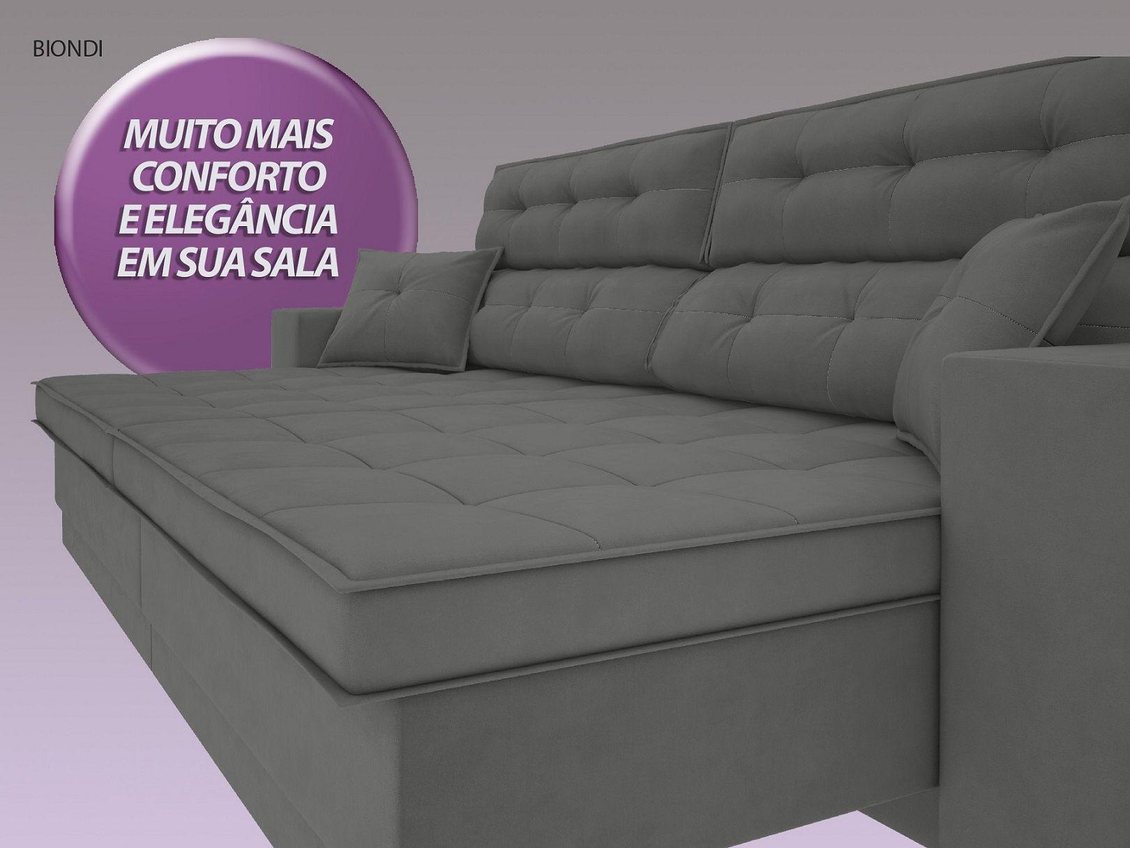 Sofá New Biondi 2,50m Retrátil e Reclinável Velosuede Grafite - NETSOFAS