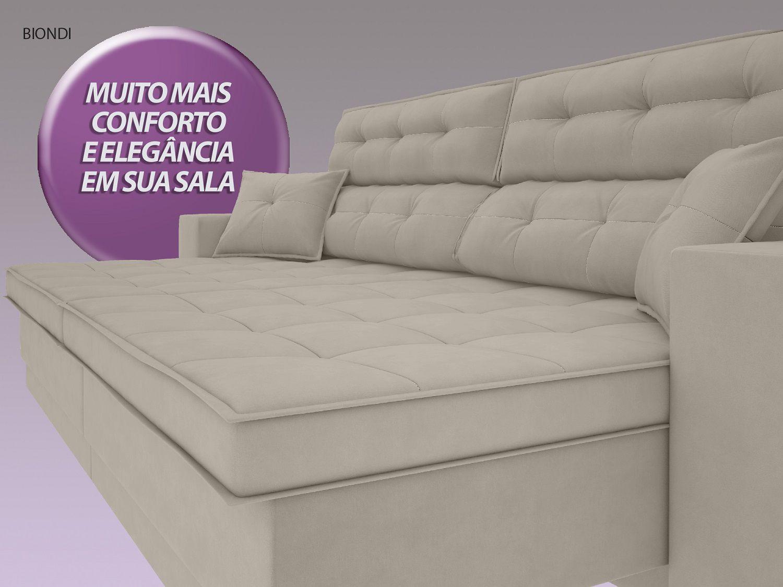 Sofá New Biondi 2,70m Retrátil e Reclinável Velosuede Areia - NETSOFAS