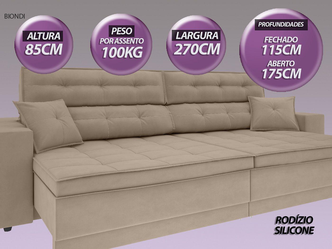 Sofá New Biondi 2,70m Retrátil e Reclinável Velosuede Capuccino  - NETSOFAS  - NETSOFÁS
