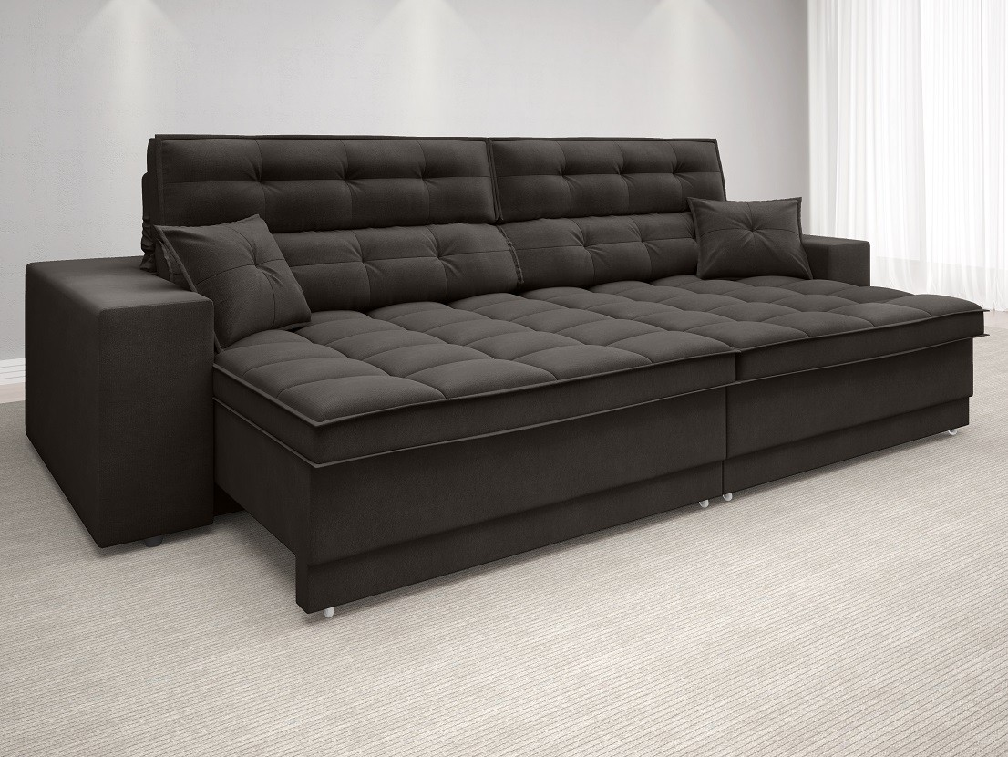 Sofá New Biondi 2,70m Retrátil e Reclinável Velosuede Chocolate  - NETSOFAS