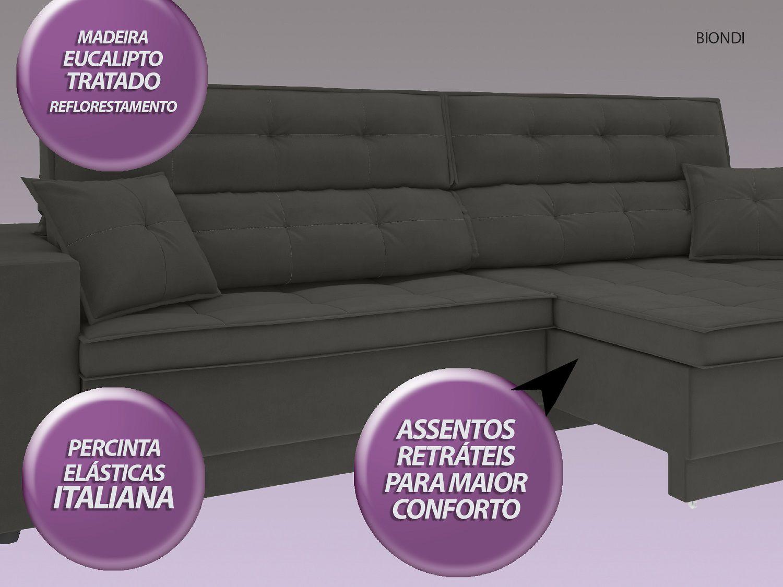 Sofá New Biondi 2,70m Retrátil e Reclinável Velosuede Cinza - NETSOFAS  - NETSOFÁS