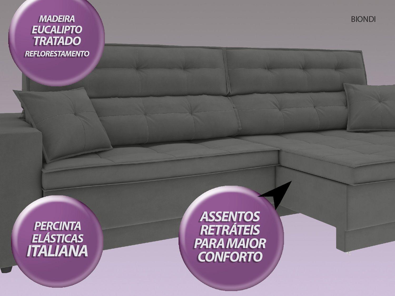 Sofá New Biondi 2,70m Retrátil e Reclinável Velosuede Grafite - NETSOFAS  - NETSOFÁS
