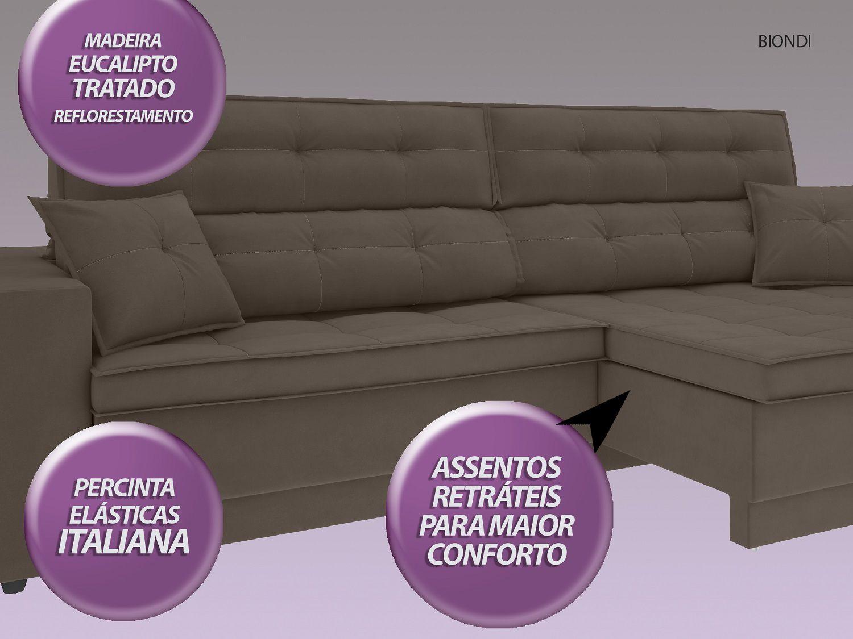 Sofá New Biondi 2,70m Retrátil e Reclinável Velosuede Marrom - NETSOFAS