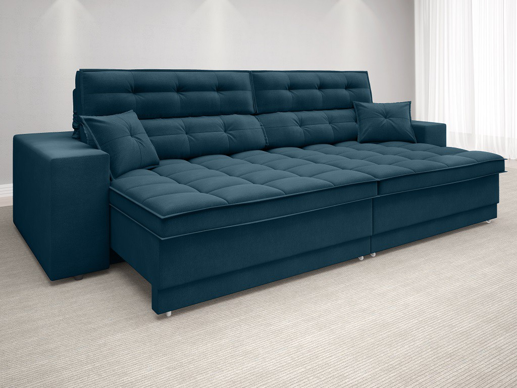 Sofá New Biondi 2,70m Retrátil e Reclinável Velosuede Royal  - NETSOFAS
