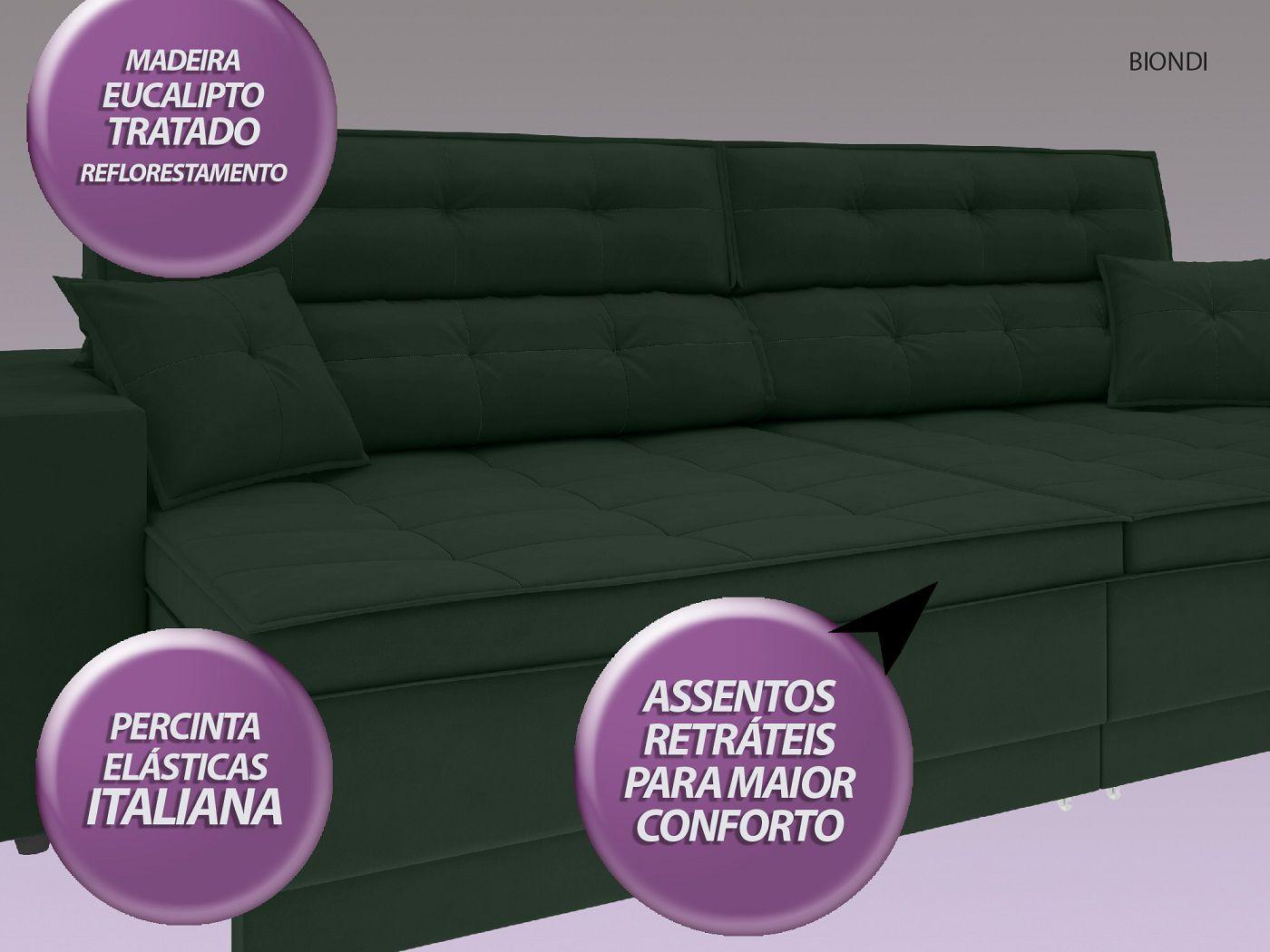 Sofá New Biondi 2,70m Retrátil e Reclinável Velosuede Verde  - NETSOFAS